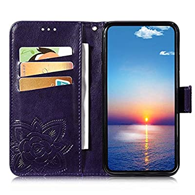 IKASEFU Compatible with iPhone 11 Case Emboss butterfly Floral Pu Leather Wallet Strap Card Slots Shockproof Magnetic Stand Feature Folio Flip Book Cover Protective Case-Dark Purple: Musical Instruments