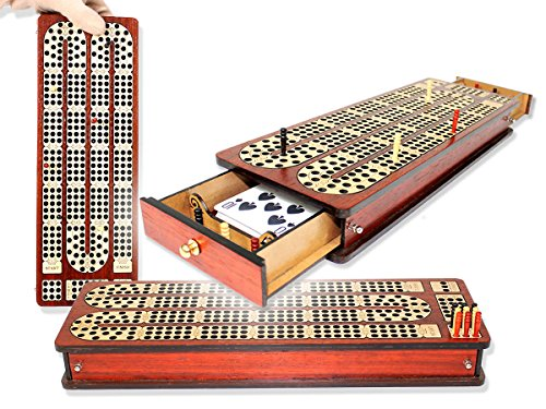 Magnetic, 3 continuous tracks Cribbage Board / pegging board, Inlaid with Drawers & place to mark won games