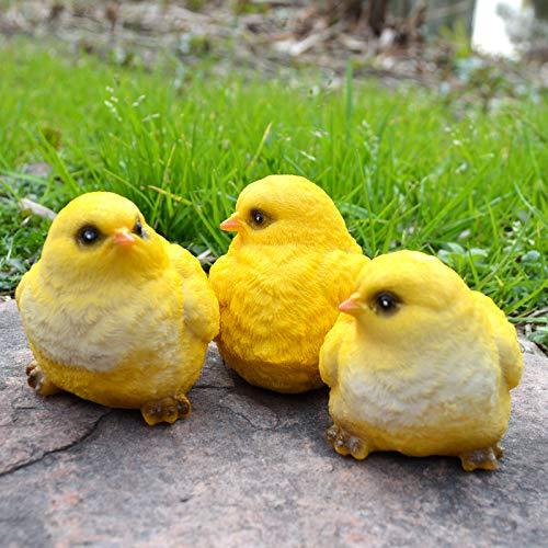 wisdomway*trade Hatching Chicks Baby Chicken Statues Outdoor Garden Decoration Resin Little Yellow Chicks Chicken Statues Lawn Decor