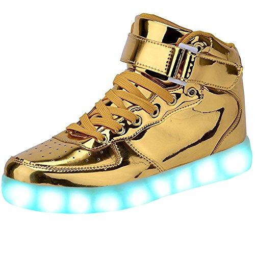 JAIMEBANNISTER Mens Womens USB Charging High Tops Led Light up Sneakers – Golden EU43