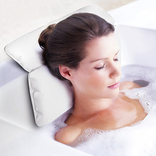 Jhua Non Slip Bath Pillow, Waterproof Spa Bathtub Pillow Mat with 7 Strong Suction Cups for Any Size Tub Comfort Bath Pillow for Neck Rest Back Support (14.6x11.4x2 in) (Mat Neck)