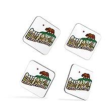 California Flag Vintage Style Bear Star San Francisco Los Angeles Coasters