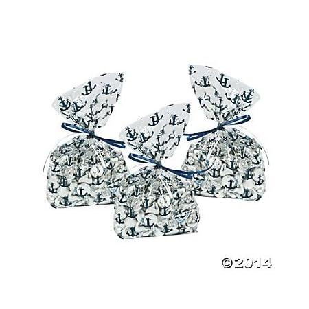 nautical anchor cellophane wedding party favor bags