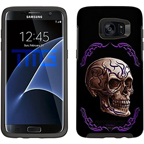 Skin Decal for Otterbox Symmetry Samsung Galaxy S7 Edge Case - Purple Tattoo Skull on Black Sales