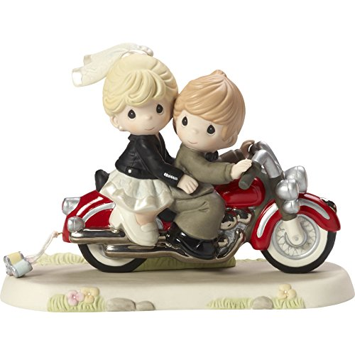 Precious Moments 172008 Together Wherever The Road May Lead Bisque Porcelain Figurine Bride & Groom on Motorcycle