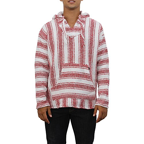 (Mens Poncho Hoodie Sweatshirt Pullover Fleece Drawstring Hood For Men (Large, White/Red))