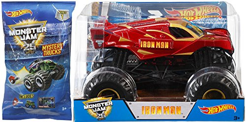 Spider Man Suit Real (Iron Man 2017 Monster Jam Hot Wheels 1:24 Scale Marvel & Mystery Blind Bag Mini Monster Truck with Launcher)