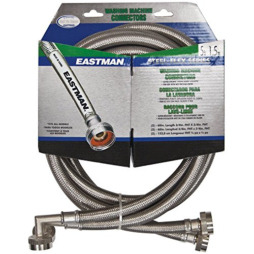 Eastman 41065 Washing Machine Hoses with 90-Degree Elbows, Water Supply Lines, 5-Foot, Braided Stainless Steel [ 2-Pack ], 5 Ft Pair, Silver