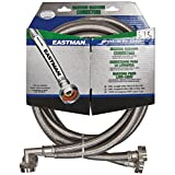 """Eastman 41065 Stainless Steel Washing Machine Hose with 90 Degree Elbow, 3/4"""" X 3/4"""", 1 Pair"""