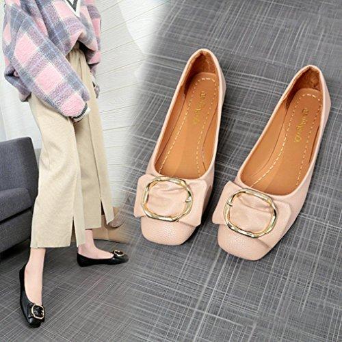 Boutons Mocassin Carrée Chaussures Orteil Mode Plat Simple Bureaux Papillon Casual Beige Tête Doux Nœud Femmes QinMM Dame Dame Tête Fille Ballerines qcvOUxnE8t