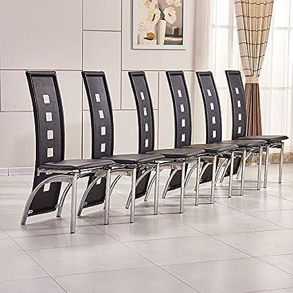 OSPI® 6 x Noir Dossier Haut Simili Cuir Chaises de Salle à Manger avec  rectangulaire en Verre trempé Table de Salle à Manger Pieds en métal  Ensemble de ... 1f70ad1cb117