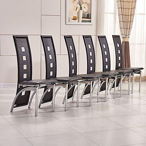 OSPI/® 6/x Negro Piel Sint/ética de Respaldo Alto sillas de Comedor con Patas de Metal Rectangular de Vidrio Templado Mesa de Comedor Juego de Muebles de Comedor