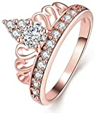 AnaZoz Jewelry Hers & Women's For Fashion Luxury 18K Rose Gold Plated Round-Cut and Halo AAA+ Cubic Zirconia CZ Princess Crown Tiara Ring Engagement Wedding Band Top Rings Bridal Jewelry Set US Size 9