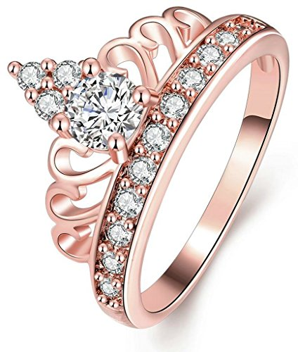 Tiara Cut Edge (AnaZoz Jewelry Hers & Women's For Fashion Luxury 18K Rose Gold Plated Round-Cut and Halo AAA+ Cubic Zirconia CZ Princess Crown Tiara Ring Engagement Wedding Band Top Rings Bridal Jewelry Set US Size 6.5)