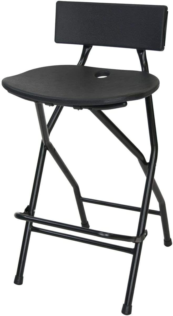 Amazon Com Eventstable Titanpro Folding Bar Stool With Backrest Black Metal Frame Stool With Back Support Durable And Sturdy Folding Stool For Outdoor Kitchen Shop Cafe Furniture Decor