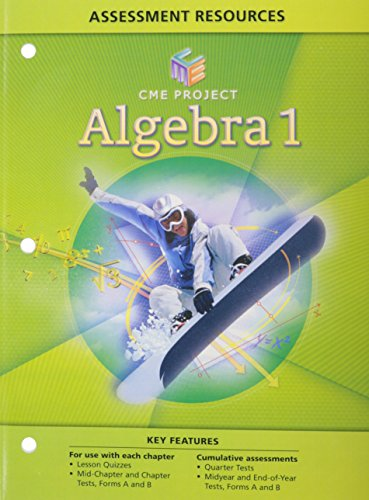 Center For Mathematics Education Project Algebra 1 Assessment Resources   Blackline Masters