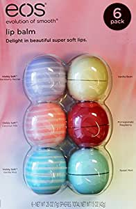 Eos Evolution Of Smooth Lip Balm, Blackberry Nectar, Coconut Milk, Vanilla Mint, Vanilla Bean, Pomegranate Raspberry, Sweet Mint, 6 Piece