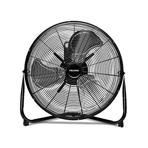 PELONIS FE50-18N 20 inch 3-Speed Air Circulator, Heavy Duty High Velocity Floor Fan, Metal Black