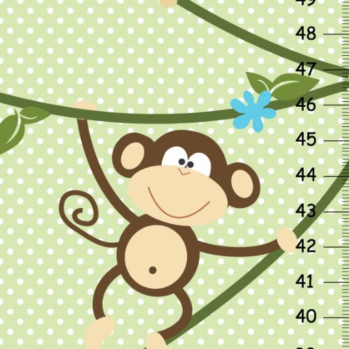 Monkeys Children Personalized Growth Chart with Green and Withe Polka Dots Background, Nursery Polka Dots Decor