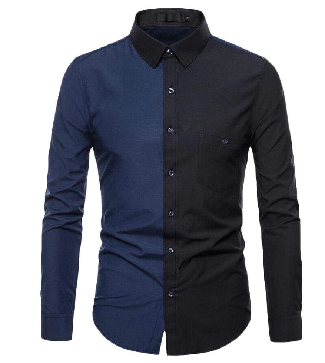 CBTLVSN Mens Slim Long Sleeve Button Down Shirt Contrast Color Button Up Shirts