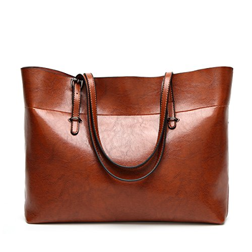 Flada Women's Handbags PU Leather Shoulder Bag Large Capacity Tote Bags for Daily Work Wine Red Brown