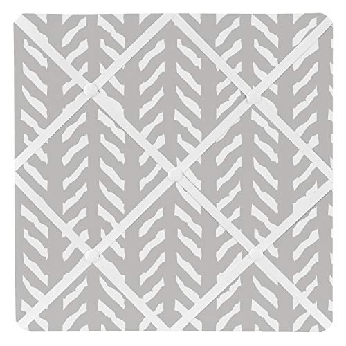 (Sweet Jojo Designs Grey and White Boho Herringbone Arrow Fabric Memory Memo Photo Bulletin Board for Gray Woodland Forest Friends Collection)