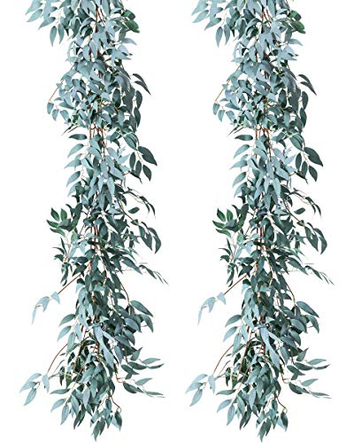 (LUSHIDI Artificial Greenery Garland Faux Silk Willow Leaves Vines for Backdrop Wall Wedding Decor, Pack of 2 (Gray))