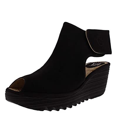 8337c5c9c13 FLY London Womens Yone Cut Out Wedge Heel Ankle Leather Peep Toe Boots -  Black -