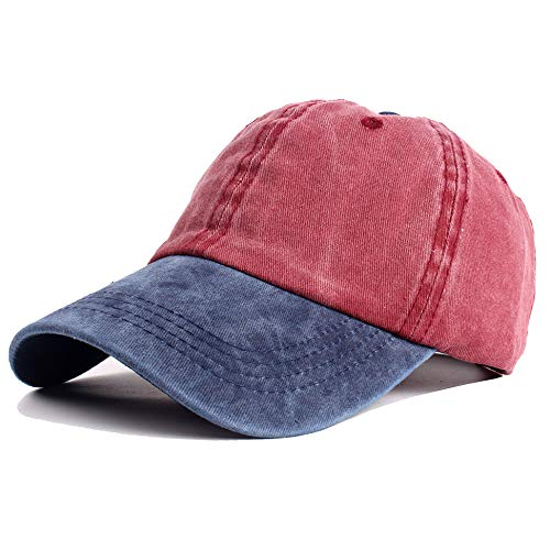 (Vankerful Unisex Washed Cotton Baseball Cap Dad Hat Pigment Dyed Two Tone Low Profile Adjustable Six Panel Cap Sun Cap Navy Burgundy)