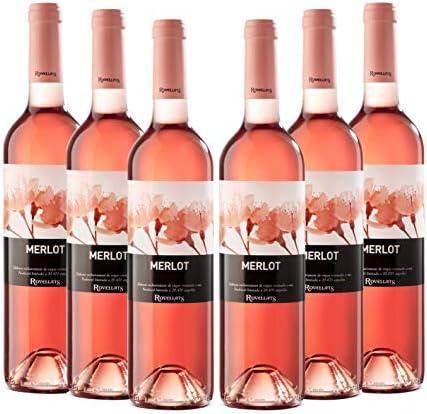 Cava Rovellats - Vino Merlot Rosado - D.O. Penedés - Pack 6 botellas de vino 750 ml – Merlot - Cosecha 2019