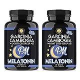 Garcinia Cambogia PM Weight Loss Sleep Aid, All Natural Supplement w/Valerian Root & Melatonin to Help Burn Fat Overnight, Night Time Appetite Suppressant, Vegetarian Formula (2-Bottles)