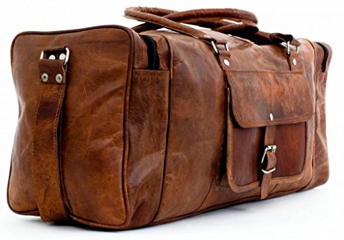 Leather 24 Inch Square Duffel Travel Gym Sports Overnight Weekend Leather Bag 24' Gear Duffel Bag