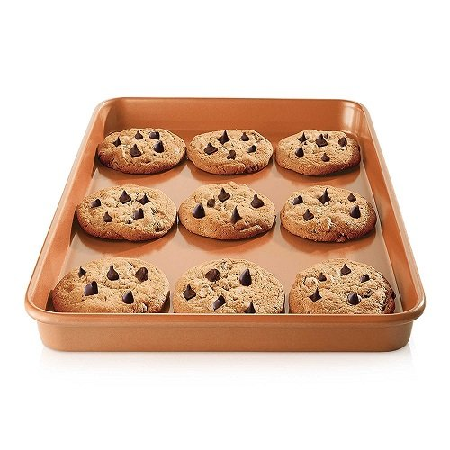 Gotham Steel Nonstick Copper Cookie Sheet and Jelly Roll Baking Pan 12'' x 17'' – 2 PACK