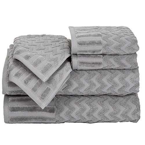 (Bedford Home 6-Piece Cotton Deluxe Plush Bath Towel Set - Chevron Pattern Plush Sculpted Spa Luxury Decorative Body Hand and Face Towels (Silver))