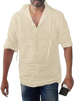 ღWawer – Camisa con Bolsillo para Hombre, Camisa Ancha, Blanca, Camisa con Botones para Hombre, Manga Larga, Cuello en V, Camiseta de Color Liso, Camiseta de Manga Larga, Hombre, Caqui, L2: Amazon.es: