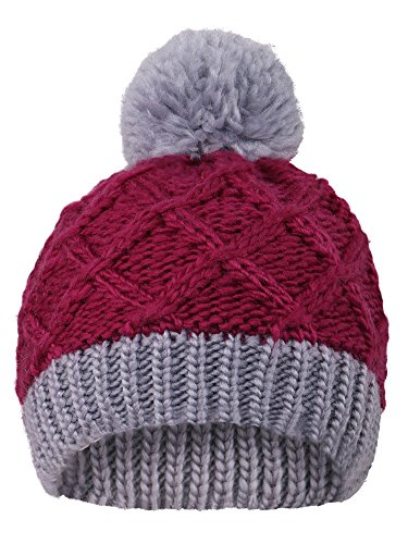 Arctic Paw Super Chunky Striped Knit Beanie with Yarn Pompom for Girls, (Purple Christmas Hat)