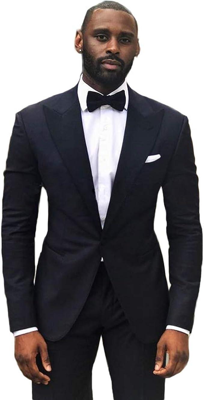 Michealboy Mens 3-Piece Suit Skinny Fit Peak Lapels Centre Vent Tuxedo Set