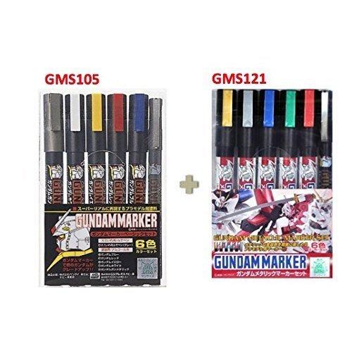 GSI Creos Gundam Marker Basic Set GMS105 (6 Markers)/metallic marker set GMS121 -value set