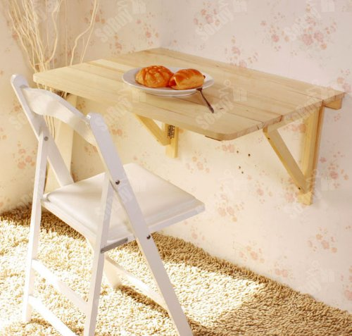 Haotian Wall-mounted Drop-leaf Table, Folding Dining Table Desk, Solid Wood Table,29.5inch×23.6inch - Natural, FWT05-N Pine Drop Leaf