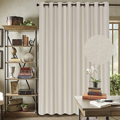 Patio Sliding Glass Door Curtain - Wide Width Room Darkening Home Decoration Light Blocking Thick Textured Tiny Plaid Faux Linen Innovated Drape / Drapery for Living Room(Ivory, 100