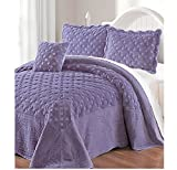 4 Piece Luxurious Purple Queen Bedspread Set, Geometric Themed Bedding Stylish Vintage Antique Pretty Classic Elegant Shabby Chic French Country Warm Soft,