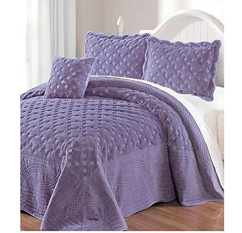4 Piece Luxurious Purple Queen Bedspread Set, Geometric Themed Bedding Stylish Vintage Antique Pretty Classic Elegant Shabby Chic French Country Warm Soft, by AD