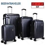 BEST TRAVELER 4 Piece ABS Luggage Set Light Travel Case w/Spinner Hardshell Suitcase-16'' 20'' 24'' 28''