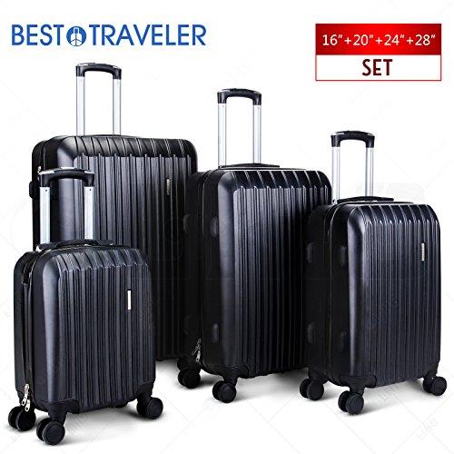 BEST TRAVELER 4 Piece ABS Luggage Set Light Travel Case w/Spinner Hardshell Suitcase-16'' 20'' 24'' 28'' by Best Traveler