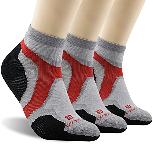 Ankle Athletic Socks, ZEALWOOD Breathable Wool Running Socks Valentine's Day Gift Men's Cycling Biking Socks, Low Cut Wool Socks, Merino Wool Socks-Grey/Black,Large,3 ()