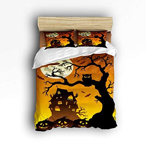 TAOGAN Halloween Night Pumpkin Lamp Owl Castle Bare Tree Silhouette 4 Piece Duvet Cover Bedding Sets 100% Polyester Soft Comfortable Full -