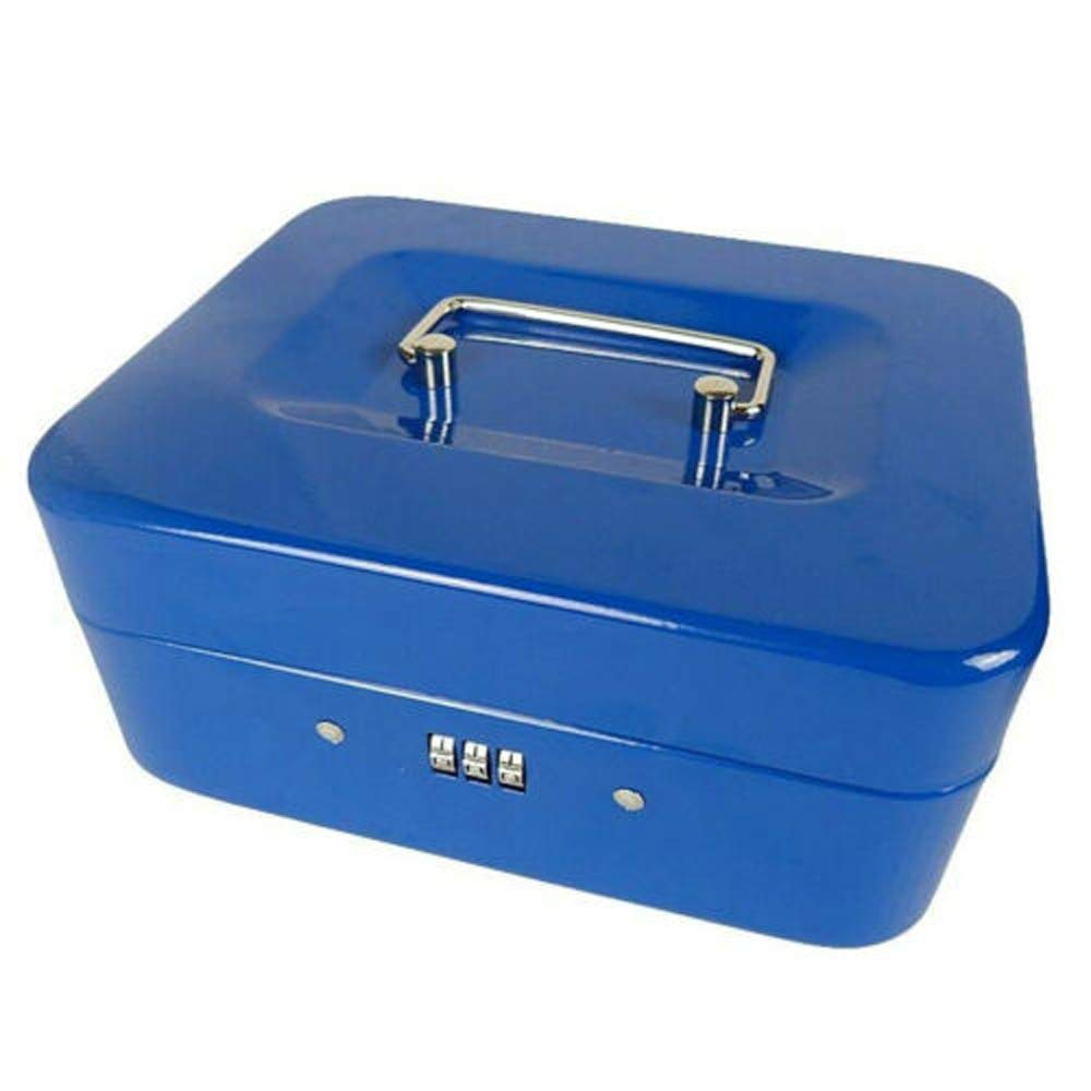 Combination Lock Cash Box Key-Less Money Tin Safe Lockable Coins Notes 3-Digit Blue