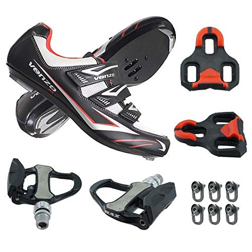 Venzo Road Bike for Shimano SPD SL Look Cycling Bicycle Shoes with Pedals 40