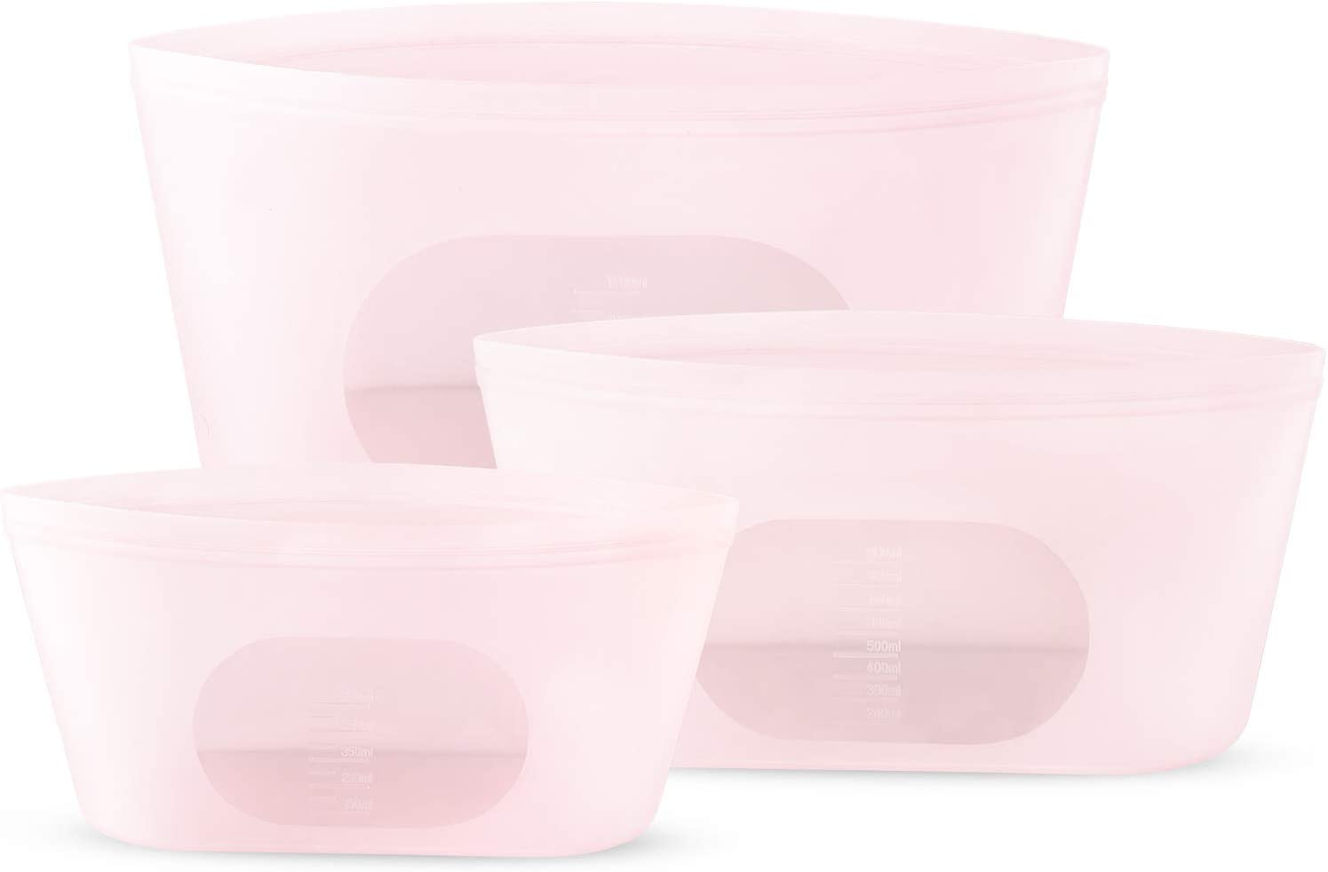 Cook with Color Reusable Silicone Food Storage Bag 3 Pack- Pink 1400/900/550ML