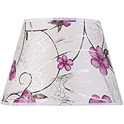 Eastlion Simple Modern Manual PVC Fireproof Lamp Shade for Table Lamp,Wall Lamp,Bedside Lamp,Pendant with E27 Lamp holder Lamp Shade 15x22x17cm Purple Rose